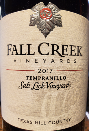 Fall Creek 2017 Tempranillo