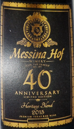 Messina Hof 2015 Heritage Blend 40th Anniversary Limited Edition Image