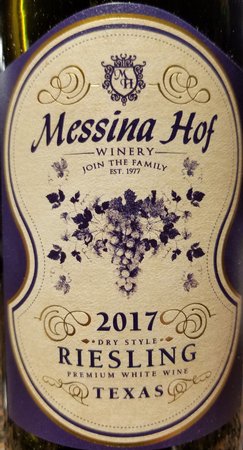 Messina Hof 2017 Dry Riesling