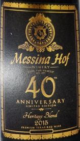 Messina Hof 2015 Heritage Blend 40th Anniversary Limited Edition